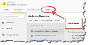 Google Analytics Admin Menu